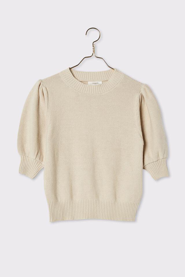 Australian Cotton Short Puff Sleeve Knit, PEBBLE