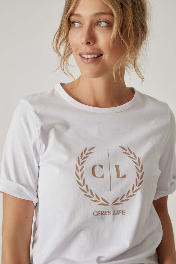 Organic Daily Print Tee, WHITE CL CREST