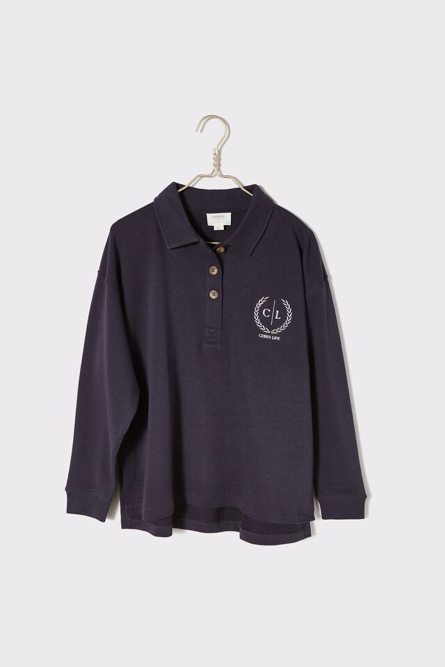 Organic Oversized Rugby Top, LEAD GREY