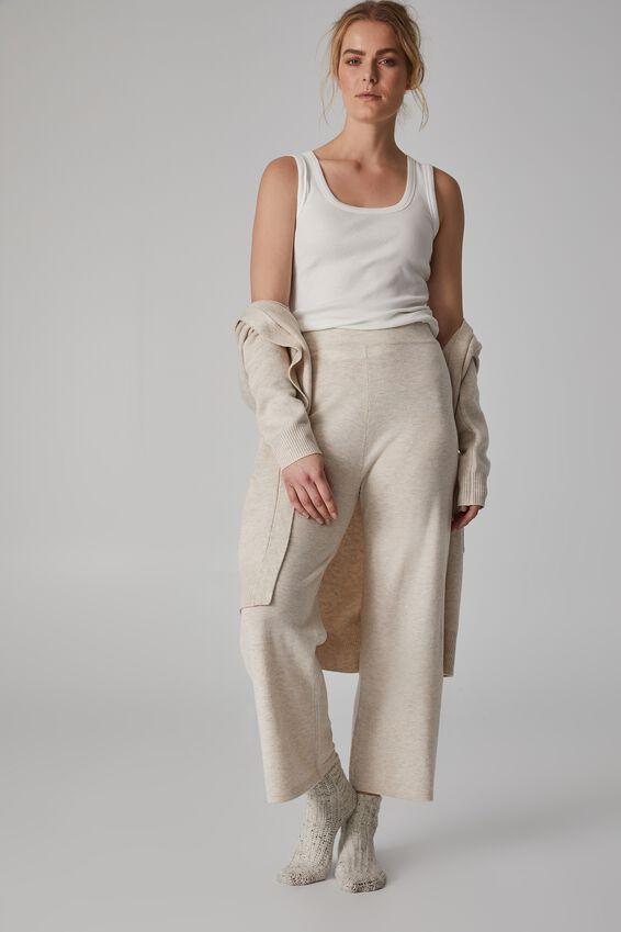 Lightweight Soft Knit Lounge Pant, OATMEAL MARLE