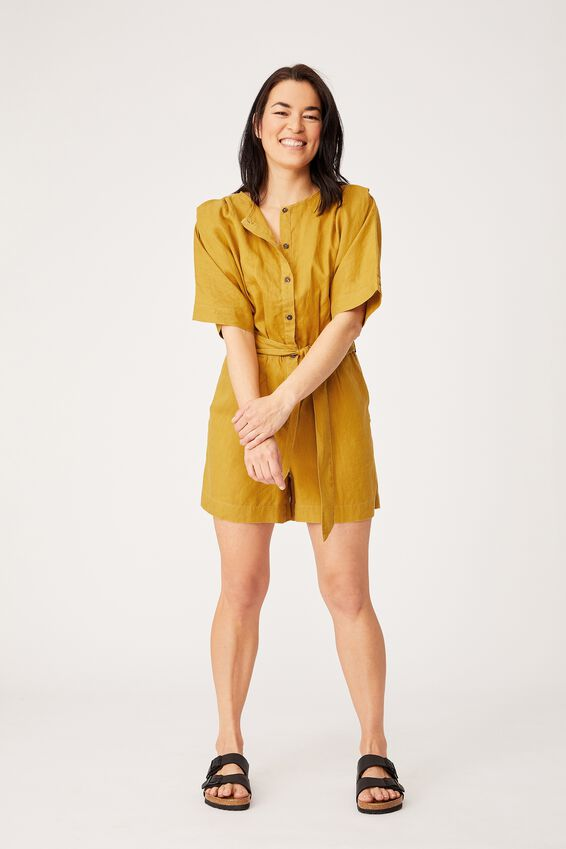 Linen Short Jumpsuit, golden sun