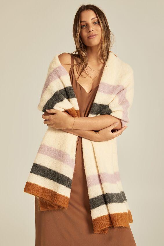 Alpaca Wool Blend Oversized Knit Scarf, PETAL STRIPE