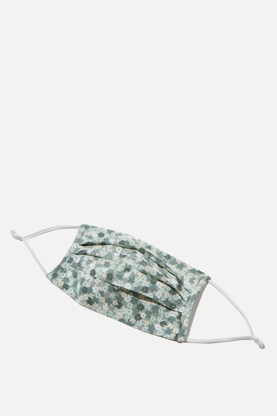 Face Mask, PALE GREEN FLORAL
