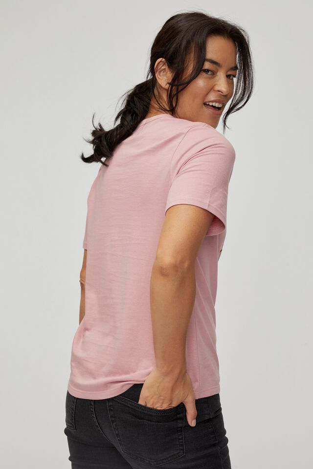 Organic Daily Print Tee, WASHED PINK/RUST CERES