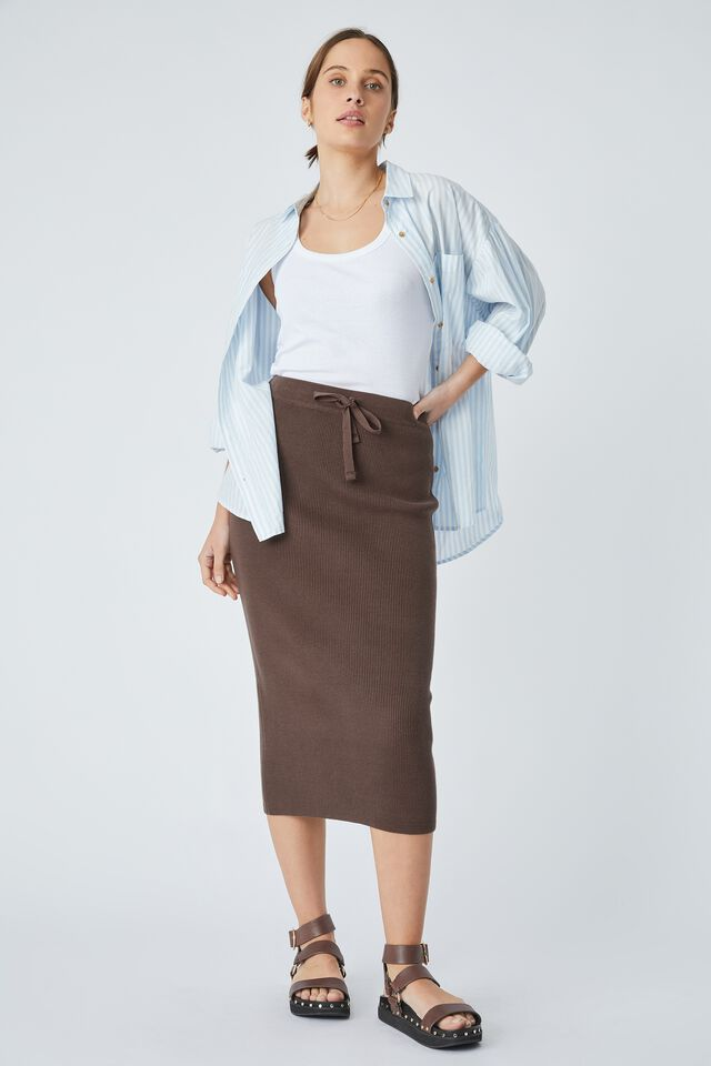 Organic Cotton Knit Skirt, BITTER CHOCOLATE