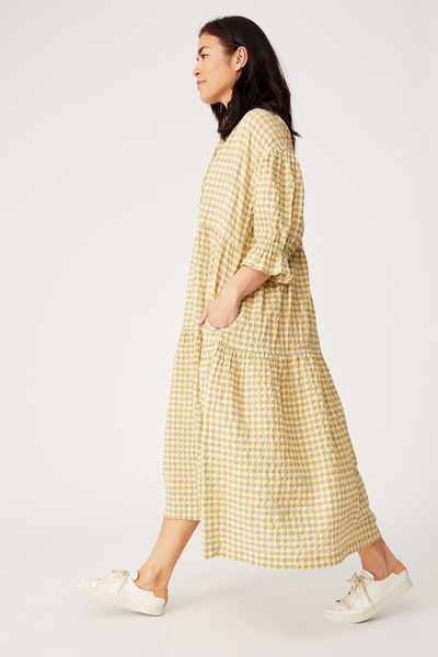 Ruffle Tiered Dress, HERB GREEN CHECK