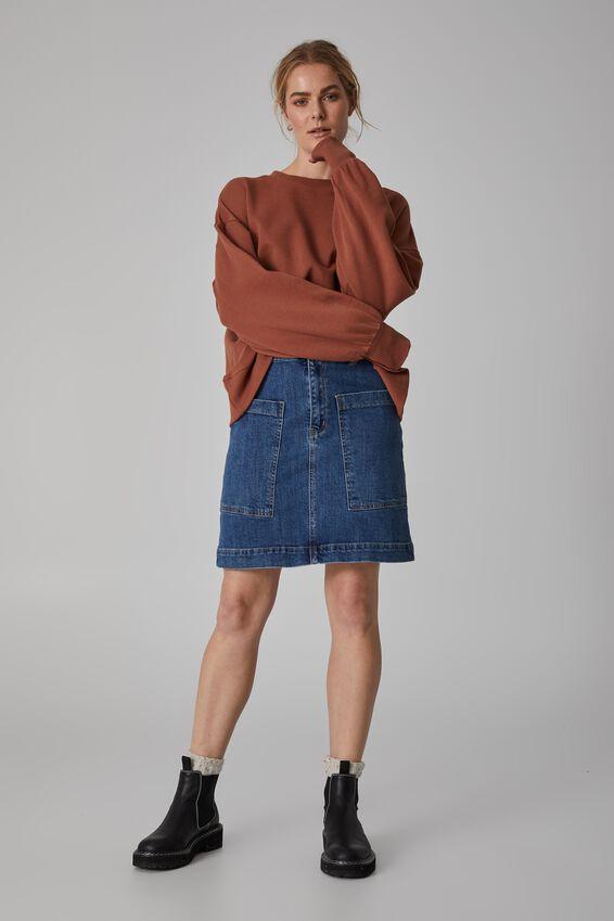 Square Pocket Denim Mini Skirt, INDIGO BLUE