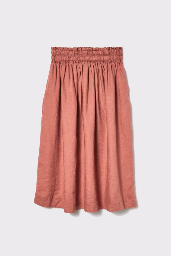 Linen Midi Skirt, RUST