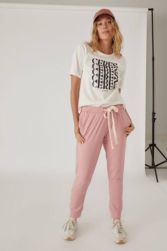 Organic Cotton Jersey Pant, WASHED PINK