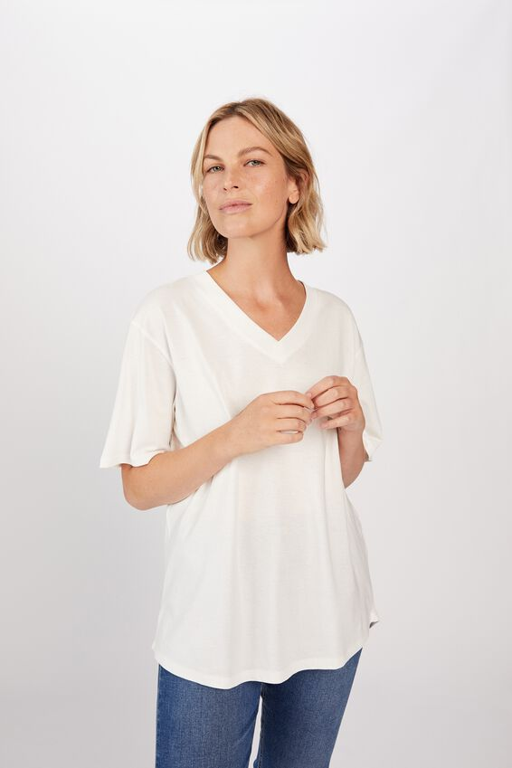 Organic Daily V-Neck Tee, WHITE