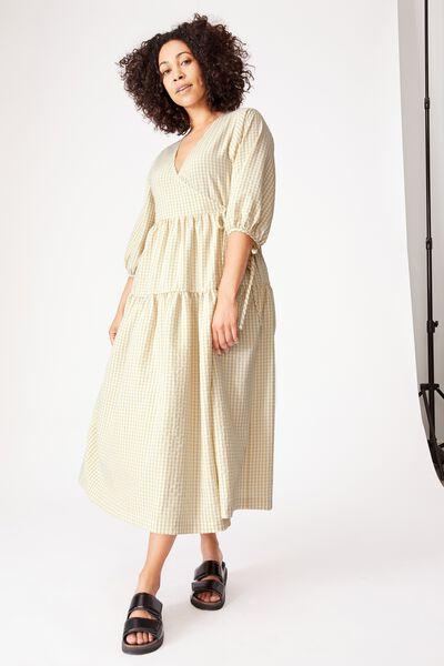 Picnic Wrap Dress, BEIGE MINI GINGHAM