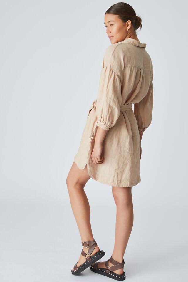Linen Shirt Dress, LIGHT CAMEL