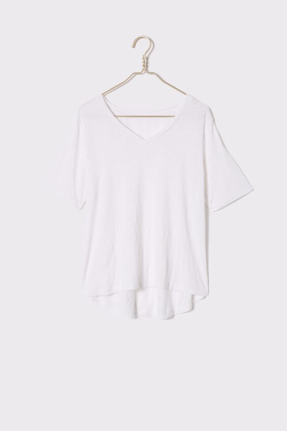 Linen V-Neck Weekend Tee, WHITE