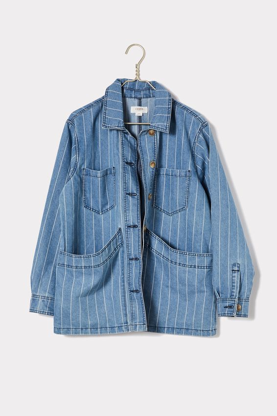 Workers Jacket, VINTAGE BLUE WASH STRIPE
