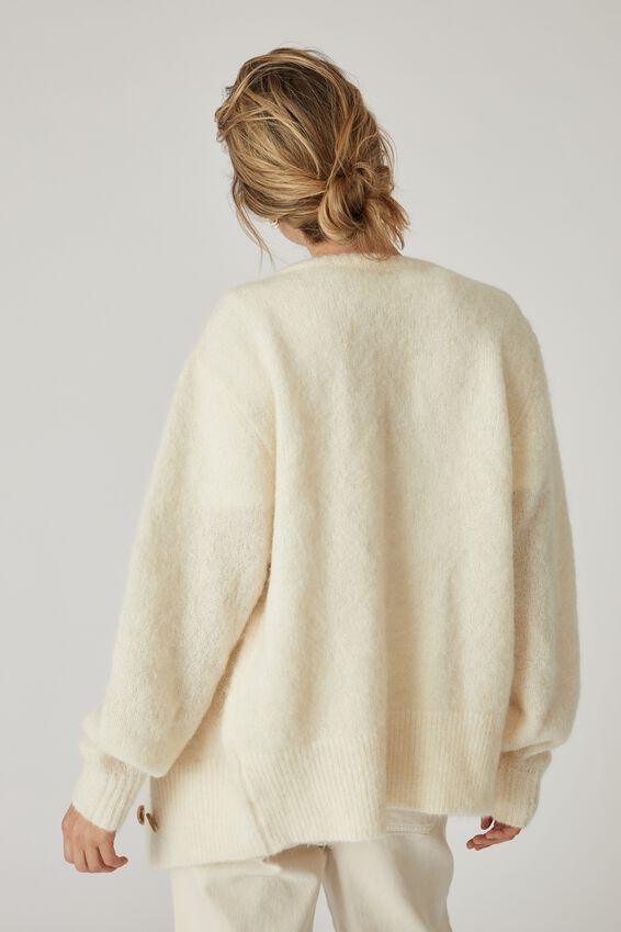 Alpaca Wool Blend Grandpa Cardigan, CREAM
