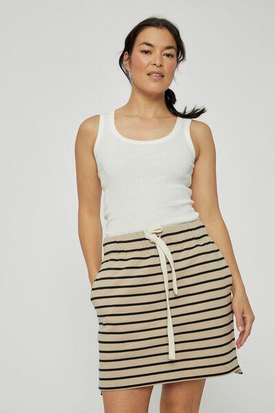 Organic Fleece Mini Tube Skirt, WIDE PEBBLE BLACK STRIPE