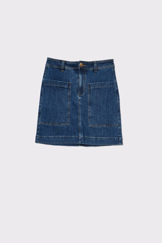 Square Pocket Denim Mini Skirt, INDIGO BLUE