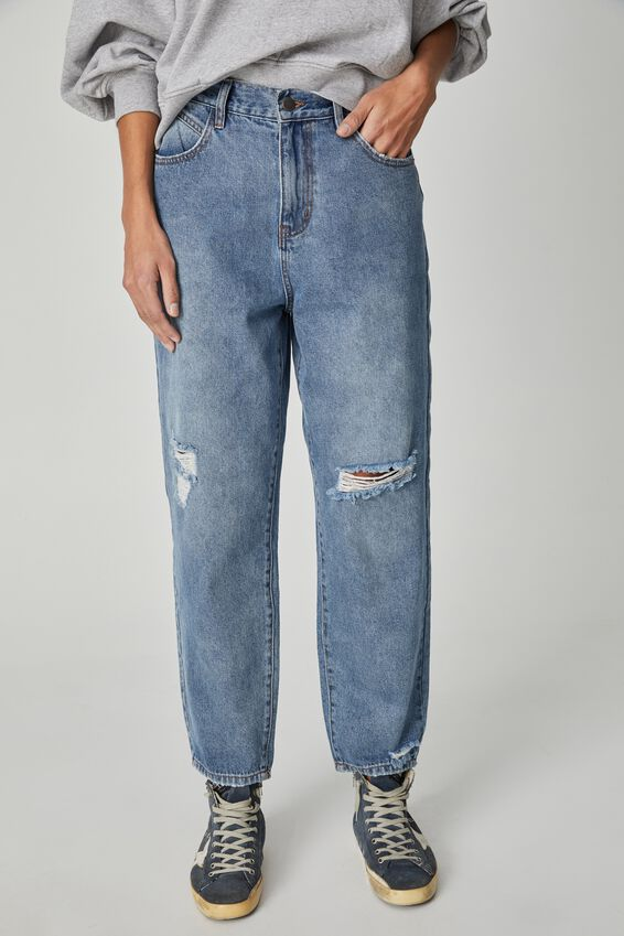 Baggy Weekend Jean, RIPPED CLASSIC BLUE