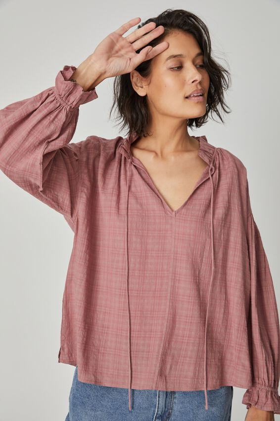 Long Sleeve Ruffle Neck Tunic, WINTER ROSE