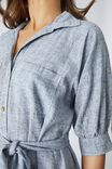 Relaxed Shirt Dress In Rescued Fabric, GREY CROSS HATCH