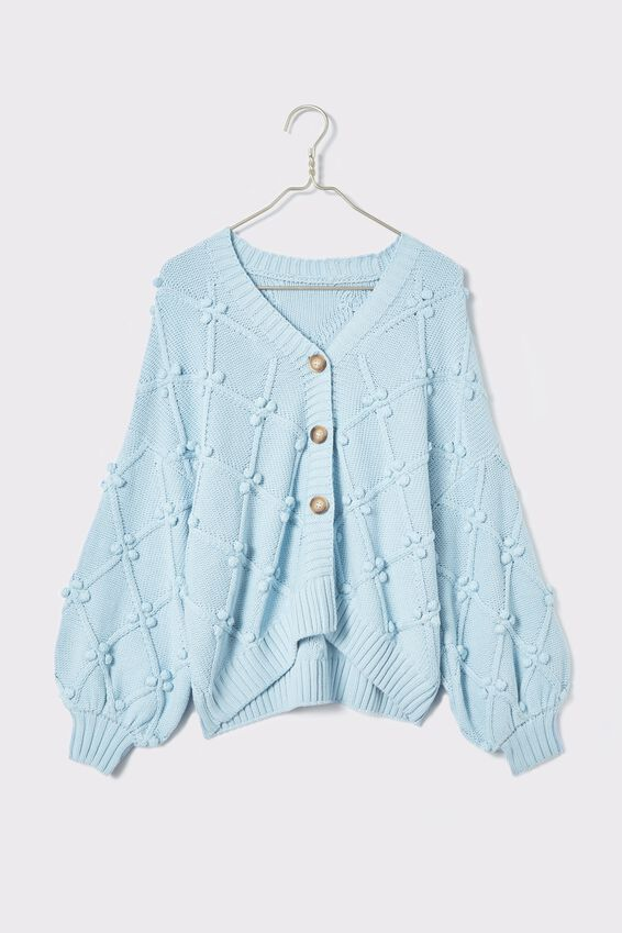 Cotton Bobble Cardigan, DUSTY AQUA