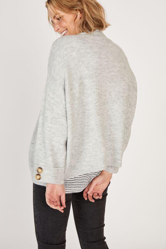 Oversized Pocket Cardigan, GREY MARLE