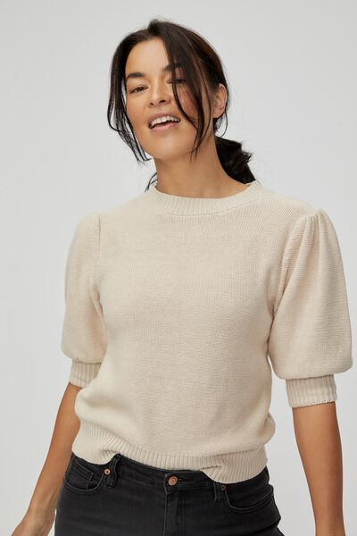 Australian Cotton Short Puff Sleeve Knit, PEBBLE