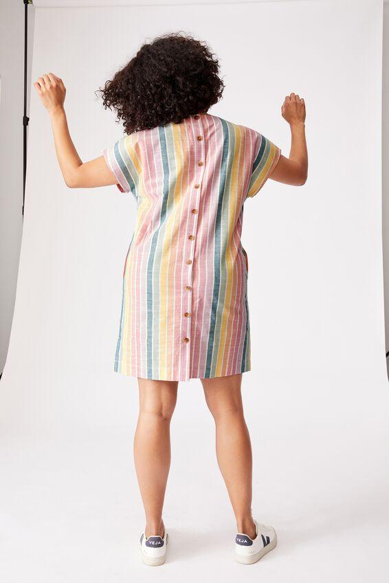 Oversized Tee Dress, RAINBOW STRIPE
