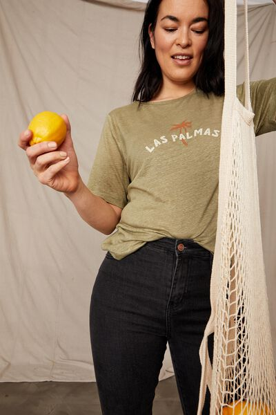 Linen Graphic Weekend Tee, DILL LAS PALMAS