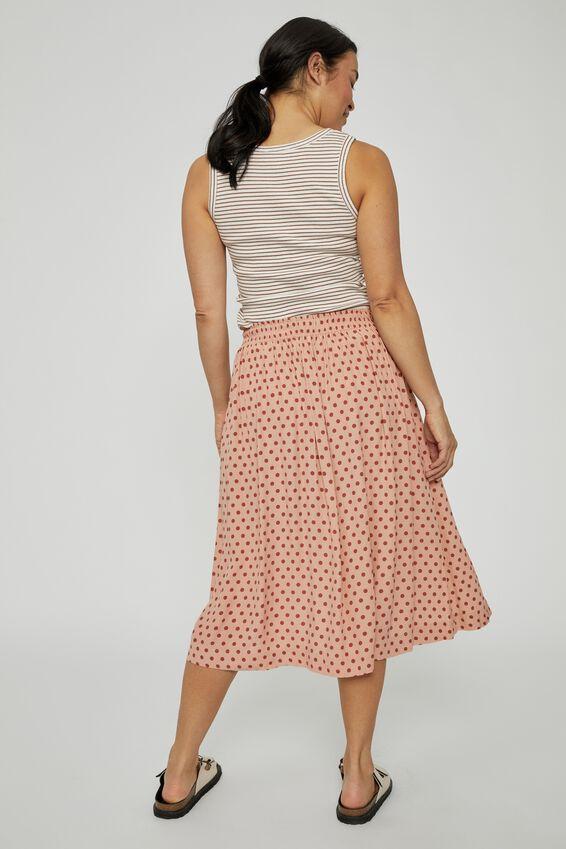Trash To Treasured X Midi Skirt, TAN SPOT