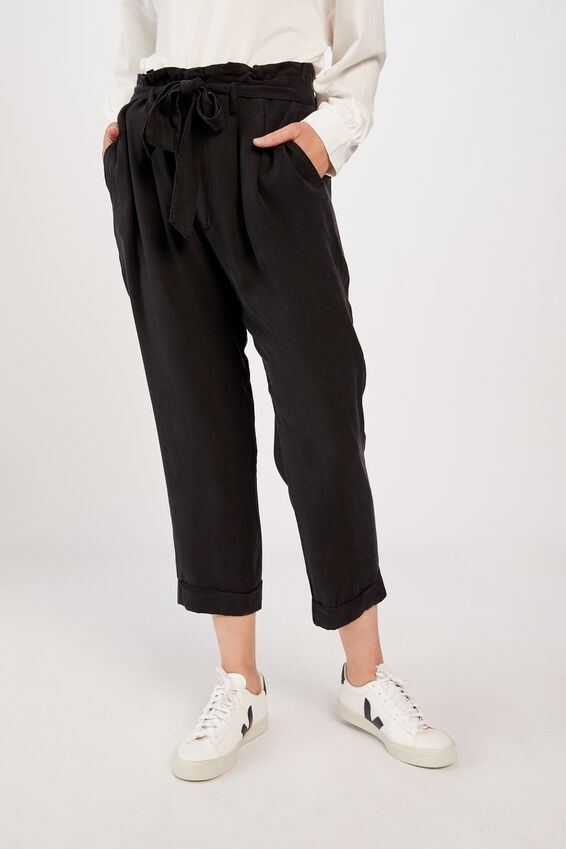 Paperbag Waist Pant, BLACK