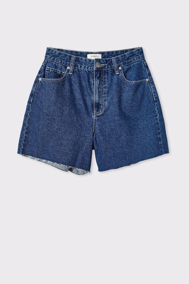 Denim Short With Recycled Cotton, INDIGO BLUE