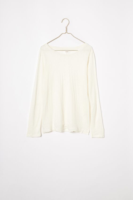 Linen Long Sleeve Crew, WHITE