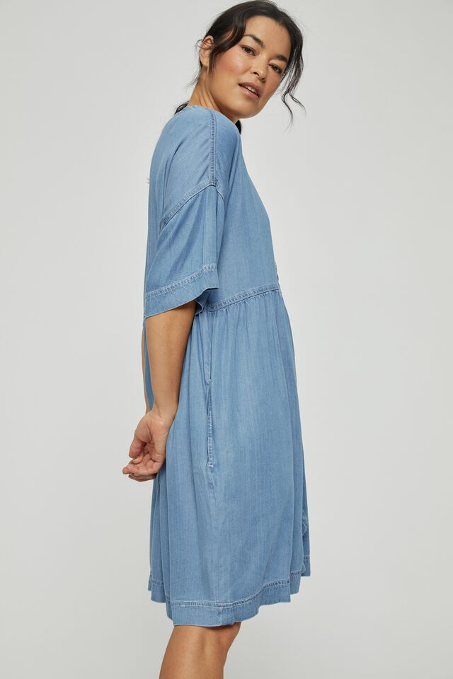 Mini Babydoll Dress, MID BLUE WASH