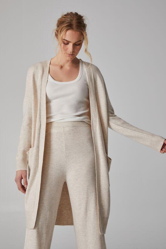 Soft Longline Cardigan, OATMEAL MARLE