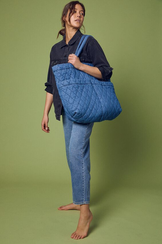 Quilted Tote Bag, CHAMBRAY