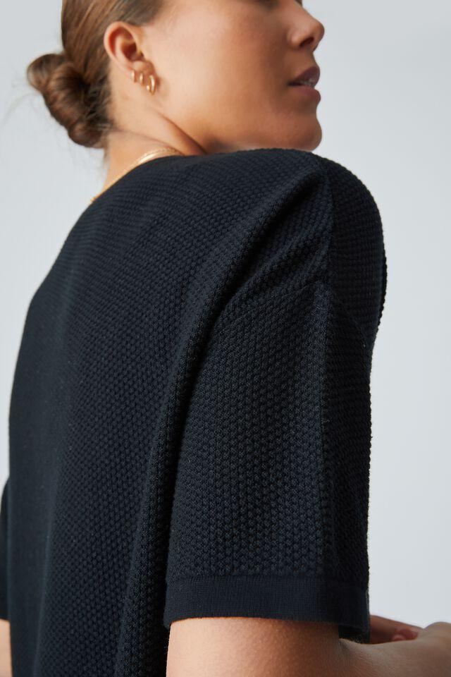 Organic Cotton Oversized Knit Tee, BLACK