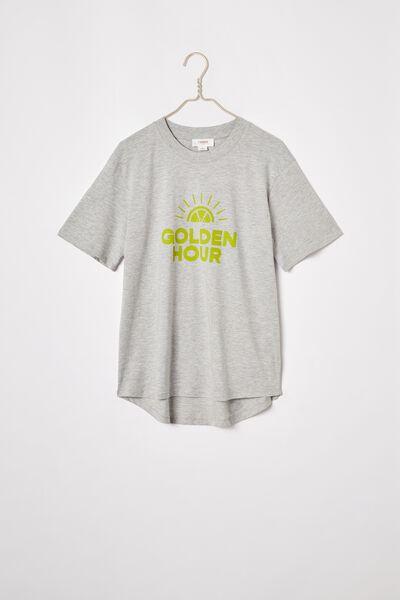 Organic Daily Print Tee, GREY MARLE/GOLDEN HOUR