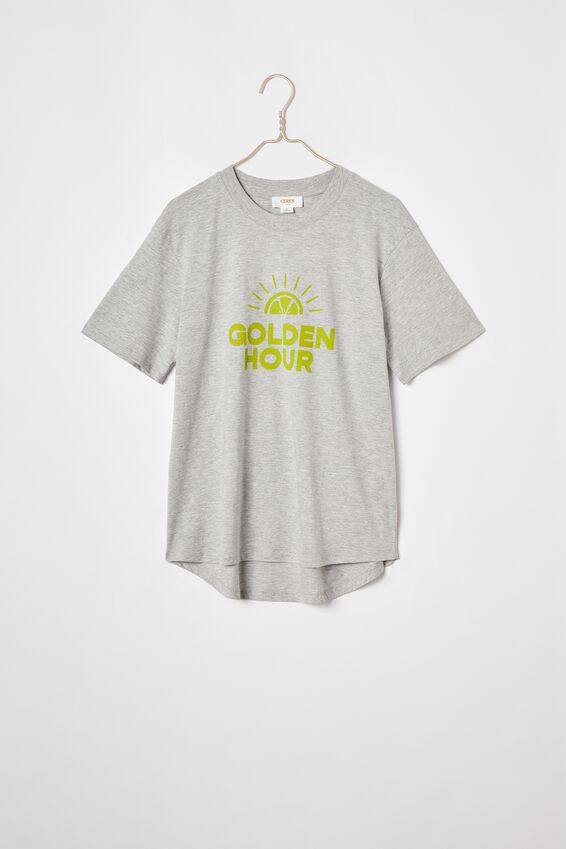 Organic Daily Print Tee, GREY MARLE/GOLDEN HOUR