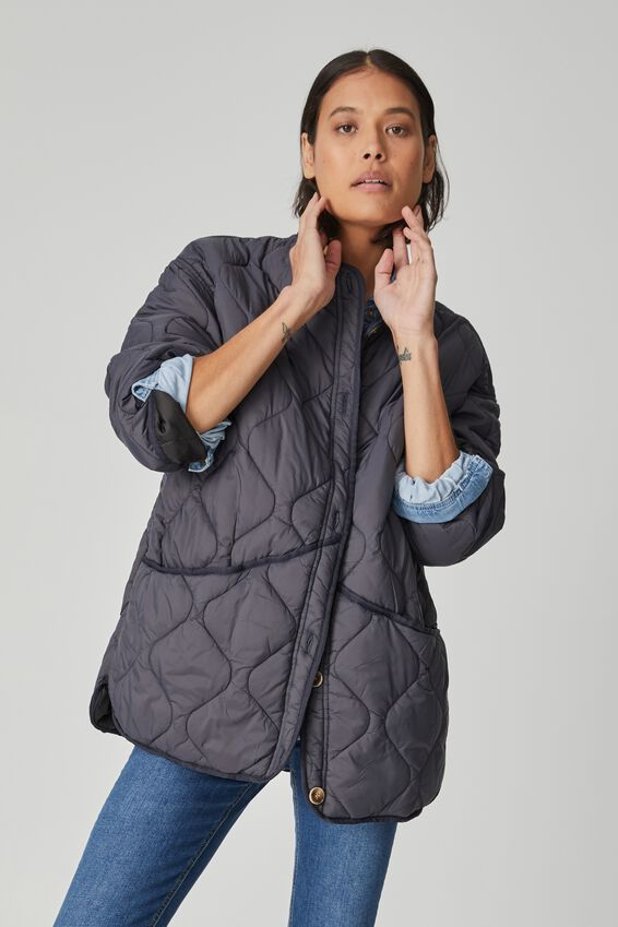 Oversized Quilted Shell, SLATE