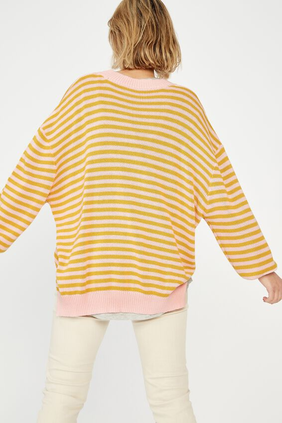 Oversized Stripe Split Hem Jumper, PINK/GOLD STRIPE