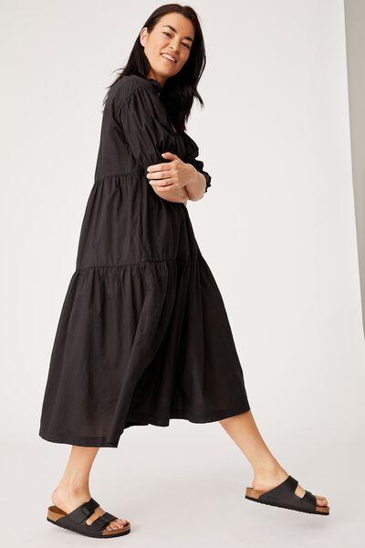 Ruffle Tiered Dress, BLACK