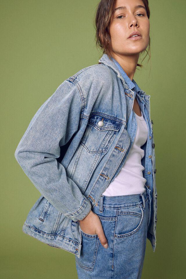 Oversized Denim Jacket, RESCUE MID BLUE WASH