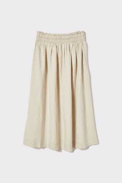 Linen Midi Skirt, PEBBLE