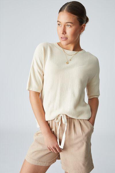 Organic Cotton Oversized Knit Tee, LIGHT CAMEL