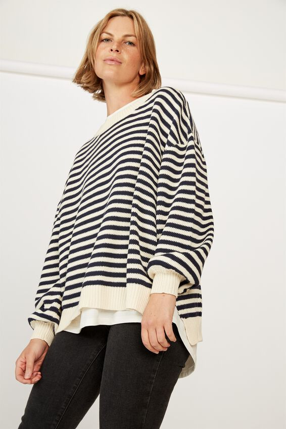 Oversized Stripe Split Hem Jumper, NAVY/ECRU STRIPE