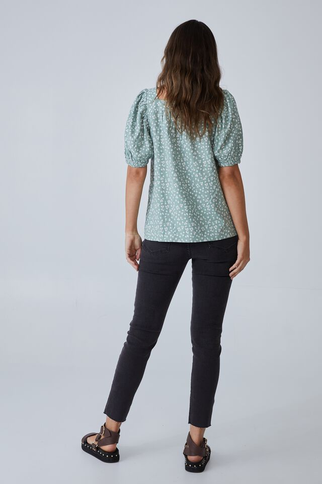 Puff Sleeve Square Neck Tunic, MINT FLORAL