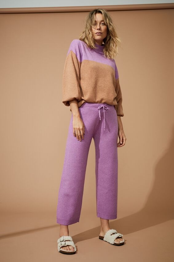 Soft Knit Wide Leg Pant, ORCHID MARLE