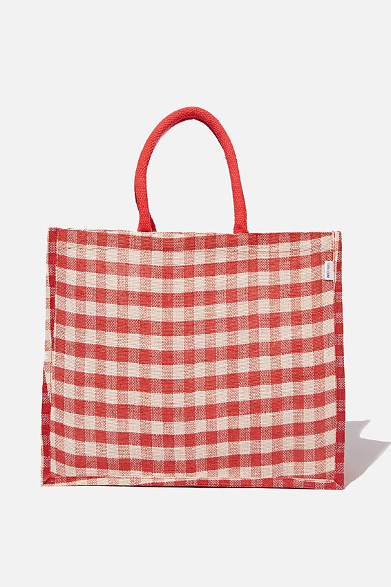 Thyli Gabang Juco Tote Bag, RED AND WHITE GINGHAM