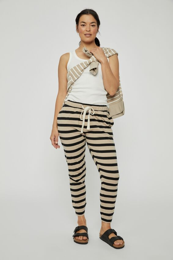 Organic Jersey Pant, BOLD PEBBLE BLACK STRIPE